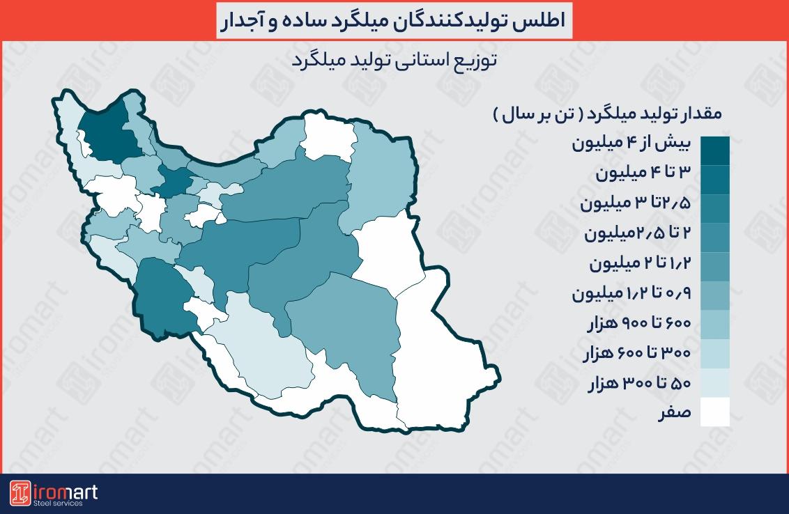 اطلس تولیدکنندگان میلگرد در ایران